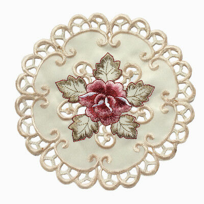 4pcs Round Embroidered Flower Dining Table Placemat Valentines Day Cover 7.8inch