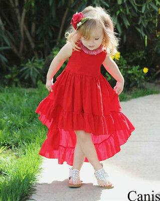 US Toddler Kids Baby Girl Sleeveless Dress Princess Party Dresses Clothes Summer