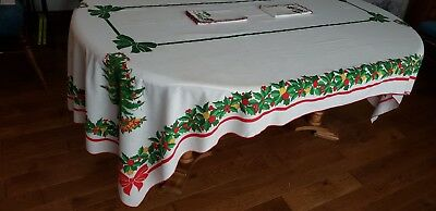 "Vintage White, Red & Green Holly Leaves Rectangle Tablecloth 101""l X 59""w"