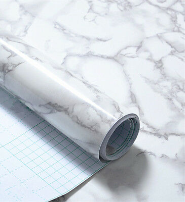 White and Grey Marble Self Adhesive Gloss Vinyl Wrap Film Kitchen Contact paper