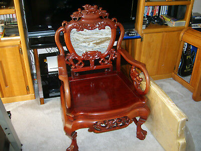 Beautiful Oriental Carved Rosewood Arm Chair with Marble on Back