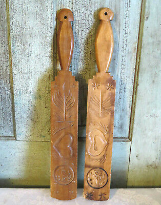 2 OLD Lollipop Style Wood Wooden Butter Mold Paddle Carved Heart Rose Wheat NICE