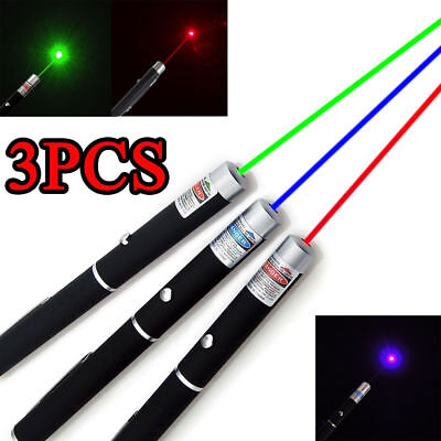 3PCS 10miles 1mw Red+Green+Blue Violet Laser Pointer Pen Beam Light Lazer