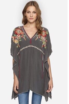 EUC Johnny Was Embroidered Cherise Poncho Blouse Tunic Dress Size S $245