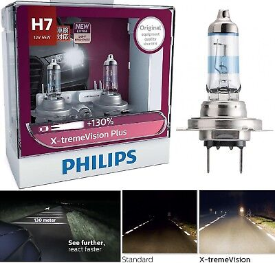 Philips X-Treme Vision Plus 130% H7 55W Two Bulbs Head Light Motorcycle Bike Fit