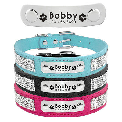 Small Dog Collar Personalised ID Nameplate Engraved Bling Rhinestone for Pet Cat