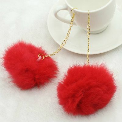 Fashion Ladies Girl Big Hairball Earrings Woman Jewelry Clothing Accessory Gift