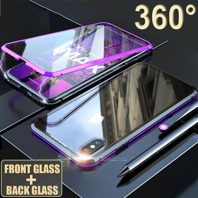 360 Full Body Tempered Glass Magnetic Adsorption Case Cover for iPhone XS Max/XR