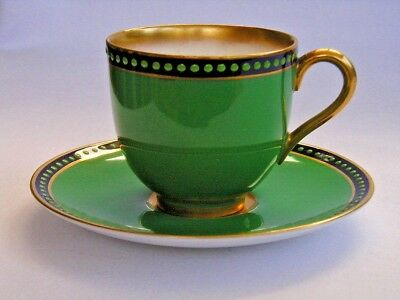 Royal Worcester art deco green jewelled vintage coffee cup and saucer (2 of 2).