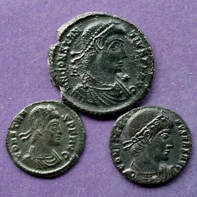 M2884 Lot of 3 bronze Roman coin of Constantine,Constantius II, Constans 16-22mm