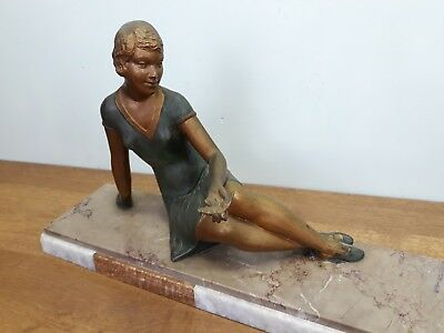 Statue Sculpture Femme Art Deco Regule Marbre Figurine Woman