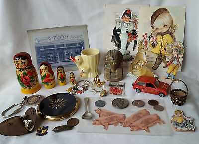 Job Lot Of Vintage Collectables - Coins, Jewellery, Ephemera, Compact, Ornaments