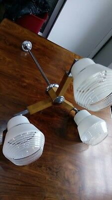Vintage Art Deco Mid Century 3 Branch Ceiling Light with Glass Shades