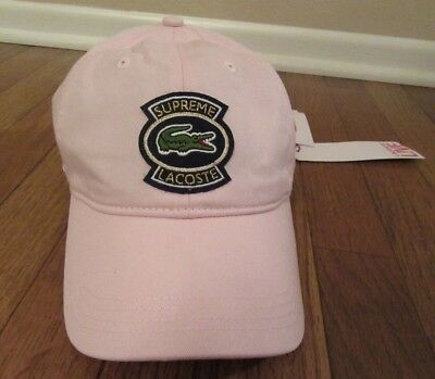 f5db422b62f Supreme Lacoste Twill 6-Panel Hat Cap Pink SS18H3 SS18 New NWT Supreme New  York