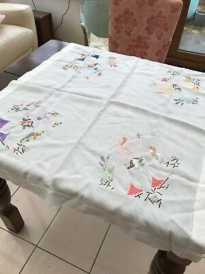 Beautiful Vintage Tablecloth Hand Embroidered With Crinoline Ladies