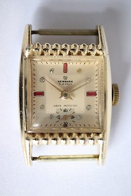 Vintage Newmark Gold Tone Art Deco Style Mechanical Hand Winding Tank Watch