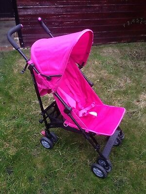 Mothercare Nanu Pink Stroller Pushchair/Buggy + Rain Cover/Windshield