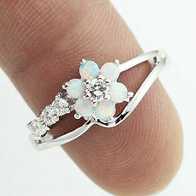Fashion Women Flower White Fire Opal 925 Silver Gemstone Jewelry Ring Size 5-11