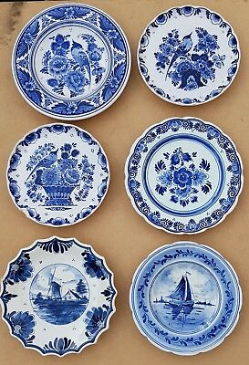 Lot of 6 Vintage Dutch Plates Dishes Wall Chargers Delft Blue - See all Pictures