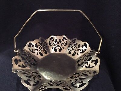 Vintage Silver Sterling?Plate? Lattice Work Basket with Articulating Arm