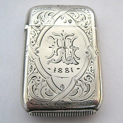 London 1879 SAMPSON MORDAN STERLING SILVER VESTA CASE / MATCH SAFE