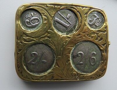 Vintage Brass Coin Holder and Antique Silver Button Hook
