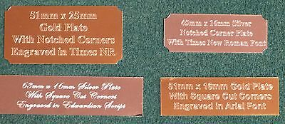 PERSONALISED ENGRAVED ENGRAVING NAME PLATES, PLAQUES, LABELS - Self-adhesive