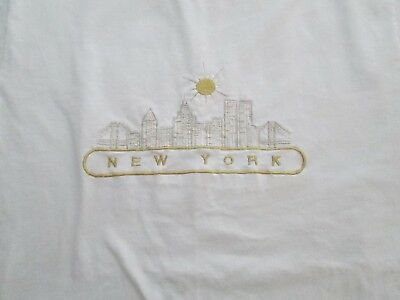 Vintage White with gold metallic embroidery Twin Towers T Shirt EUC