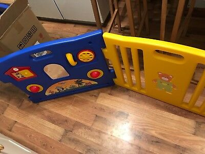 Large Plastic Baby Playpen 8 Panels With Gate And Activity Panel.  Excellent Con