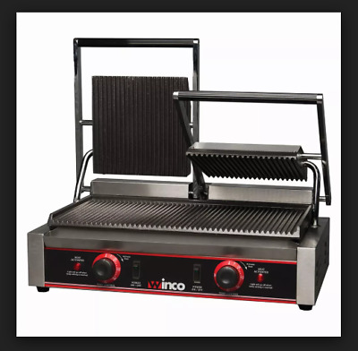 Winco Double Commercial 120V Panini Press With Cast Iron Grooved Plates Epg-2