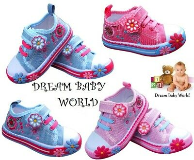 KIDS Canvas girls shoes trainers slippers UK 8 - 12 Toddler NEW GIRLS