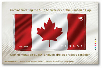 First FABRIC Souvenir sheet Canada's FLAG 50th Anniversary = MNH-VF Canada 2015