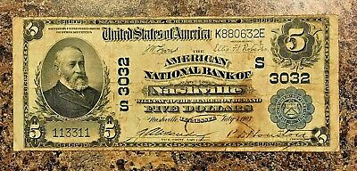 Series 1902 NATIONAL CURRENCY $5 RADAR NOTE NASHVILLE TN July 07, 1903 F VF