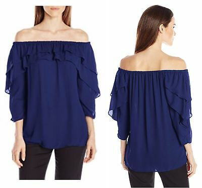 NY Collection Ruffled Off The Shoulder Blouse Blue Women's Plus Size 2X  HW4874