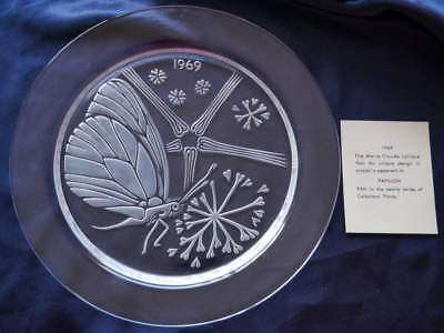 Lalique Crystal 1969 Papillon Butterfly Plate, 50th birthday gift idea, signed