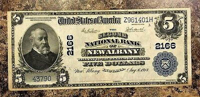 Series 1902 NATIONAL CURRENCY $5 NEW ALBANY IN. XF EF AU CU Nice!