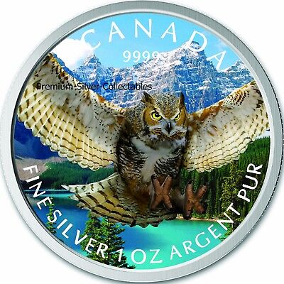 2015 Canada Bird of Prey Horned Owl Colorized Coin Series 1 Ounce Pure Silver!!