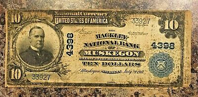 Series 1902 NATIONAL CURRENCY $10 MUSKEGON MI. VG F VF