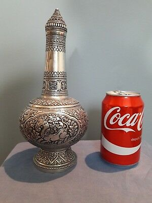 Antique Sterling Silver Repousse Bottle. Thai Burmese. Thailand. Siamese.china