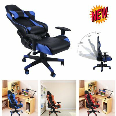 Gaming Chair Office Executive Recliner Racing Adjustable Swivel Soft Leather NEW
