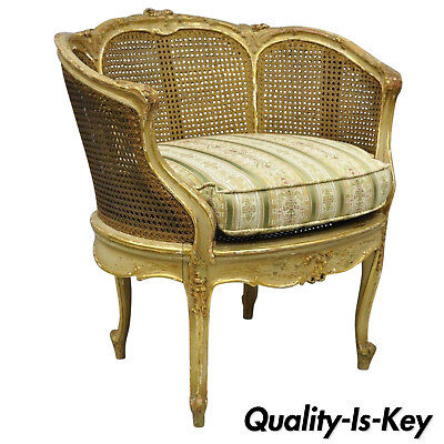19th Century French Louis XV Style Gold Giltwood Cane Distressed Accent Chair