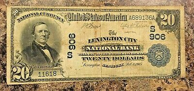 Series 1902 NATIONAL CURRENCY $20 LEXINGTON CITY KY. DATE BACK Rare! VG F