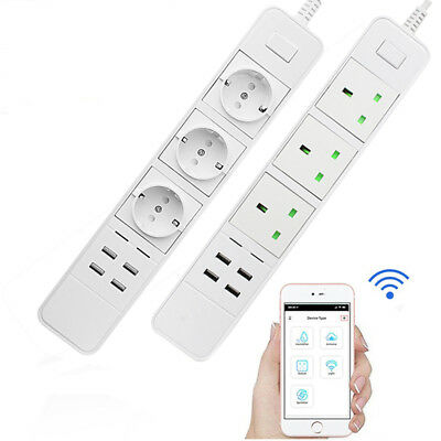 WiFi Timer Smart Power Strip Socket with Alexa Protector with 4 AC Outlets 4 USB