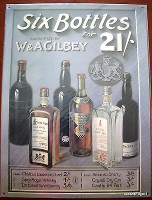 SIX BOTTLES Gilbey Liquor Tin Sign Wall Art,Whiskey,Gin,Brandy,Port Print Ad