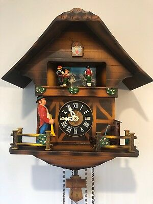 Trumpeter, Musical, Animated, Chalet, Cuckoo Clock-See Video