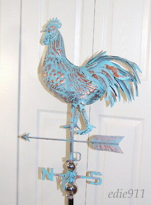 LARGE STRUTTING ROOSTER 3D Weathervane AGED COPPER PATINA Handcrafted NEW