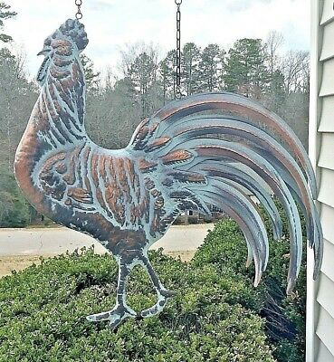 LG 3D STRUTTING ROOSTER on HANGING BRACKET in AGED COPPER PATINA FINISH Detail!
