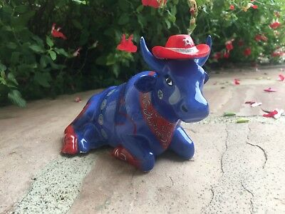 Holdings Corporation 2001 Cow Parade Figure, Cowboy, Red & Blue