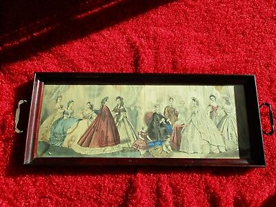 Old Antique Wood Serving Tray Picture Woman Victorian / Edwardian Dress under Gl