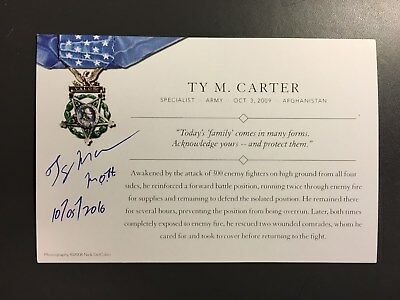 Medal Of Honor Recipient Ty Carter Signed Moh Card